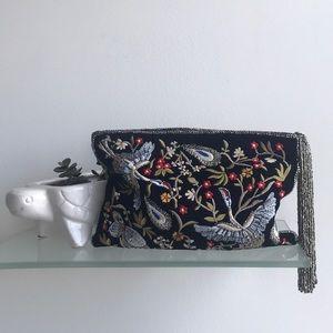 Zara Velvet Embroidered Beaded Clutch